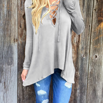 Grey Strappy V-Neck Long Sleeve Asymmetrical Casual Top