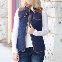 Quilted + Suede Patch Vest {Navy}