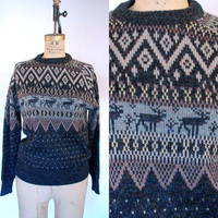 1970s-1980s. reindeer. holiday. cosby unisex sweater.