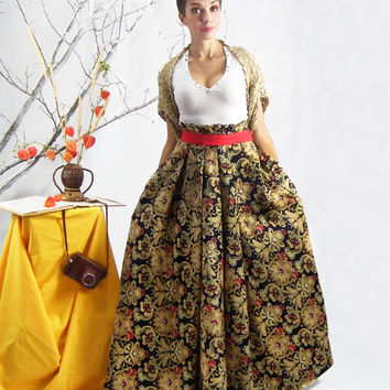 Maxi Skirt, Long Floral Skirt, Plus Size Skirt, Full Cotton Skirt, Pleated Skirt, Floor Length Skirt, High Waisted Skirt, Bohemian Skirt