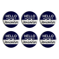 Jencarlos Hello My Name Is Plastic Resin Button Set of 6