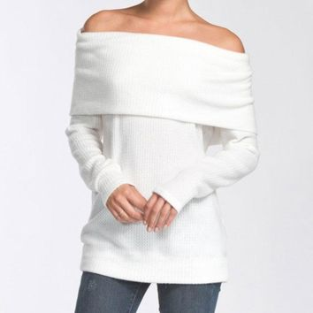 Winter White Off Shoulder Thermal