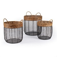 Set of 3 Round Wire and Straw Storage Baskets With Handle