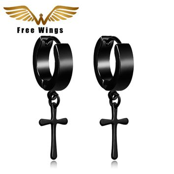 Gold Silver Black Small Anti Allergic Cross Hoop Earrings For Women Titanium Earrings Punk Fashion Men Jewelry Gothic 2d0