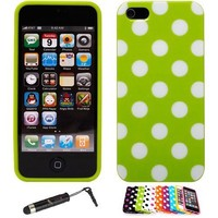 iPhone 5 Polka Dot Flex Gel Case (Green / White) + Universal Touch Screen Stylus Pen