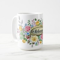 Watercolor Pink Yellow Roses Greenery Monogram | Coffee Mug