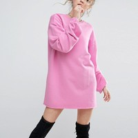 ASOS Oversized Sweat Dress With Long Sleeves at asos.com
