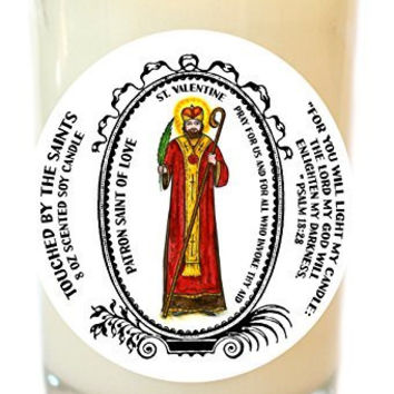 Saint Valentine Patron of Love 8 Oz Scented Soy Glass Prayer Candle