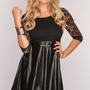 Black Faux Leather Floral Lace 3 / 4 Sleeve Skater Dress