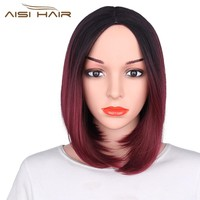 I's a wig Ombre Blue Pink Black Red Gray  Bob Style Straight Synthetic Wigs Short Hair for Women High temperature Fiber