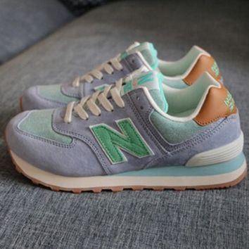 New balance abric is breathable n leisure sports Couples forrest gump running Army green-2