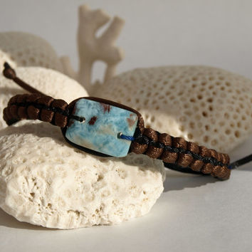 Larimar Macrame Surfer Bracelet rectangular beach summer blue dolphin surf unisex boho black brown men women