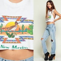 New Mexico Shirt 80s Cactus Tank Top ROADRUNNER Bird 1980s Crop Desert Vintage Cutoff Hipster Southwest Graphic Retro Tee Small Medium XS