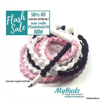 FLASH SALE! iPhone EarPods - Headphones - Wrapped Headphones - iPhone Earphones - Tangle Free Earbuds Gifts for Her Gift for Teens