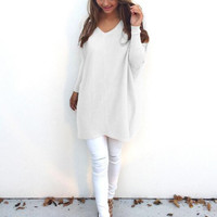 White V-Neck Long Sleeve Thin Sweater 12727