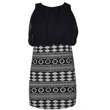 New Sexy Women Summer Casual Sleeveless Aztec Printing Skirt Party Evening Cocktail Short Mini Dress = 1946940036
