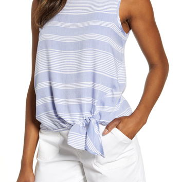 beachlunchlounge Stripe Side Tie Sleeveless Blouse | Nordstrom