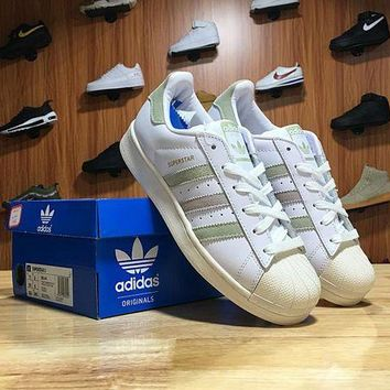 LMFON6GS Adidas Superstar Shell-toe Flats Sneakers White Sliver Line Causel Sport Shoes
