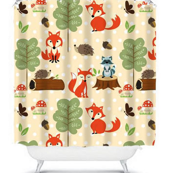 WOODLAND Shower Curtain Monogram Boy Girl Kid Child Fox Raccoon Forest Animals Polka Dot Bathroom Bath Polyester Made in the USA