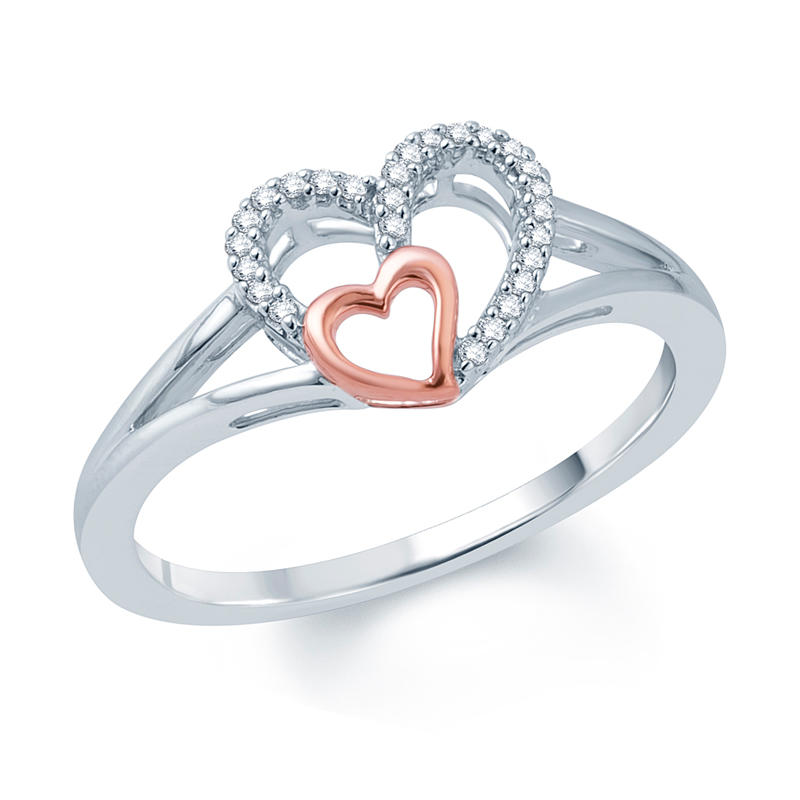 Diamond Accent Double Heart Promise Ring from Zales
