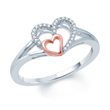 Diamond Accent Double Heart Promise Ring in 10K White Gold