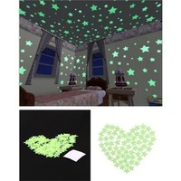 100 pcs Home Wall Glow In The Dark Stars Stickers Decal Dreamy Noctilucent [8045578247]