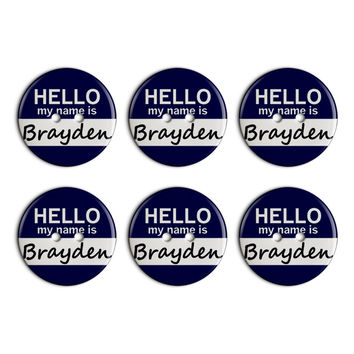 Brayden Hello My Name Is Plastic Resin Button Set of 6
