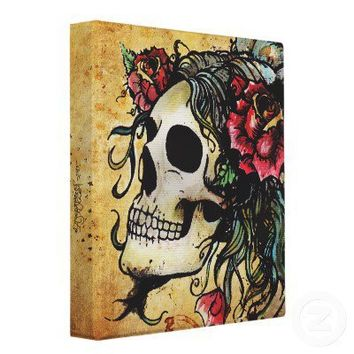 Rose Skull Watercolor Tattoo Binder by Agorables from Zazzle.com