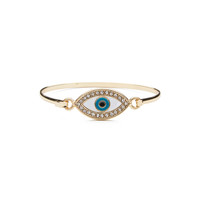 Medium Pave Evil Eye Bracelet (Gold)