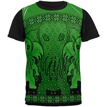 Ugly Christmas Sweater Big Cthulhu Greater Gods All Over Mens Black Back T Shirt