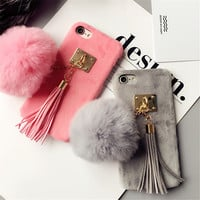 Fashion Luxury Fox Fur Ball Hard Wooly Fur Tassel Case Cover Warm Mobile Phone Back Cover Skin For Iphone 7 7plus 6 6plus 5 SE