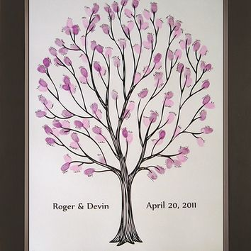 Tempo Wedding Thumbprint Tree for up to 100 by SayAnythingDesign