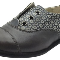Manuela de Juan Boy's & Girl's Lucio Grey Smooth Printed Leather Oxford Shoes