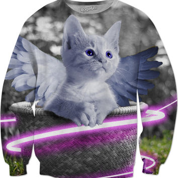 Cute Kitty with Angels Wings Sweatshirt