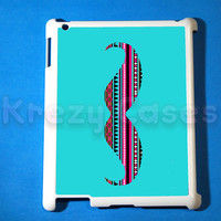iPad 2 case, iPad 3 case, Mustache Aztec Pattern ipad 2 cover for your ipad 2, iPad 3 Cover, Snap on Hard Plastic Case