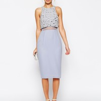 ASOS Pearl Embellished Crop Top Midi Dress