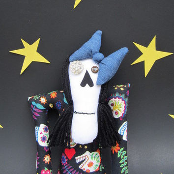 Art Doll, Gothic Doll, Day Of The Dead Doll, Skeleton, Spooky, Creepy Cute, Mexican Folk Art