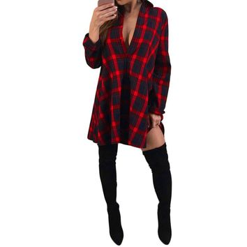 Women Plaid Button Long Sleeve T-Shirt Turn-down Collar Pullover Blouse Tops