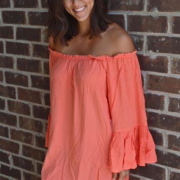 Off the Shoulder Bell Sleeve Dress in Coral