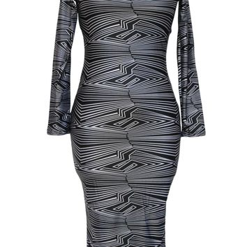 Chicloth Black Geometric Print Cut-Out Midi Vintage Dress