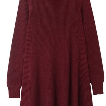 Oversized Red Knit Flare Dress