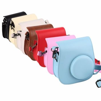 Leather Camera Strap Bag Case Cover Pouch Protector For Polaroid Photo Camera For For Fuji Fujifilm Instax Mini 8 Drop Shipping
