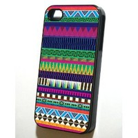 Black Iphone 4/4s Case Aztec Pattern AP001
