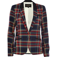 River Island Womens Navy plaid fitted blazer