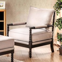 Sybil Contemporary Accent Chair, Beige By Furniture Of America