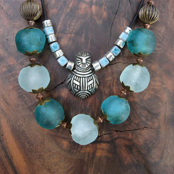 Aqua and Teal Glass Globe Necklace Big Frosty Recycled Glass Beads on Antiqued Copper Chain African Jewelry