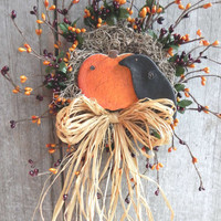 Crow and Pumpkin Berry Wreath Autumn Fall decor