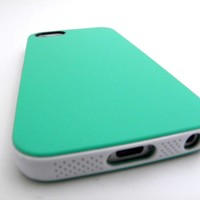 APPLE iPHONE 5 5S MINT GREEN WHITE SLIM TPU GEL COVER PC BUMPER HYBRID CASE CELL