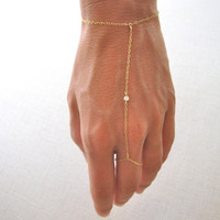 slave bracelet - hand chain // delicate 14k gold filled chain with tiny cubic zirconia cz diamond
