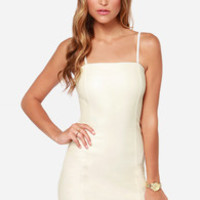 Mink Pink Nobody But Me Ivory Vegan Leather Dress